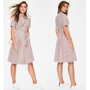 Boden Anastasia Conker & Ivory Stripe Shirt Dress